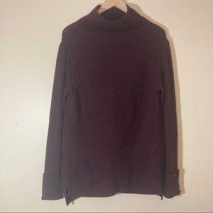 Vince burgundy wool cashmere blend mock neck sweater